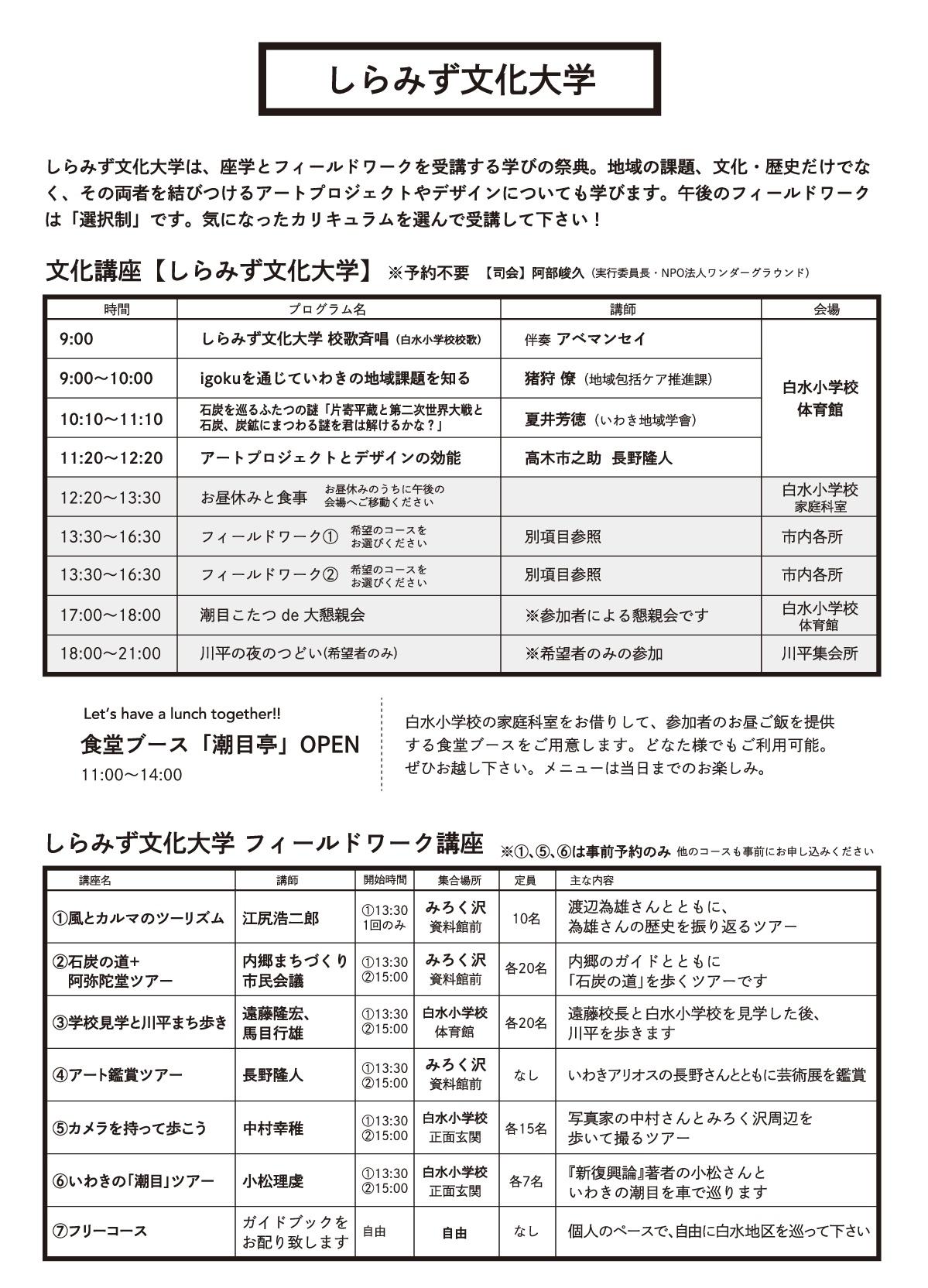 いわき潮目劇場2018「しらみずアーツキャンプ」25日(日)に開催! [平成30年11月17日(土)更新]3