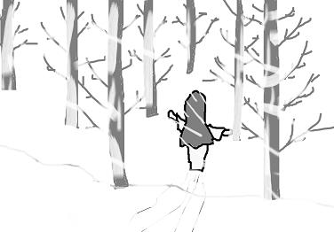 雪女が逃げる