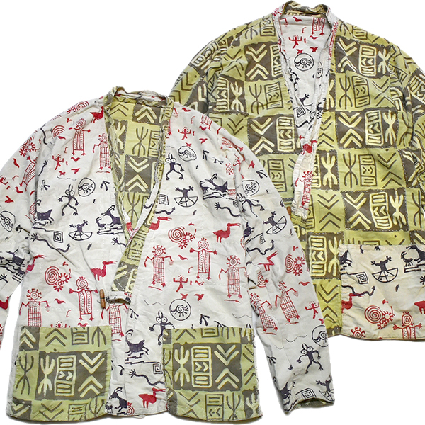 デザイン性高し総柄アウタージャケット個性派古着メンズレディースコーデ@古着屋カチカチ