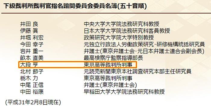 大段亨 裁判官 日弁連懲戒委員委員 澤田雄二弁護士1