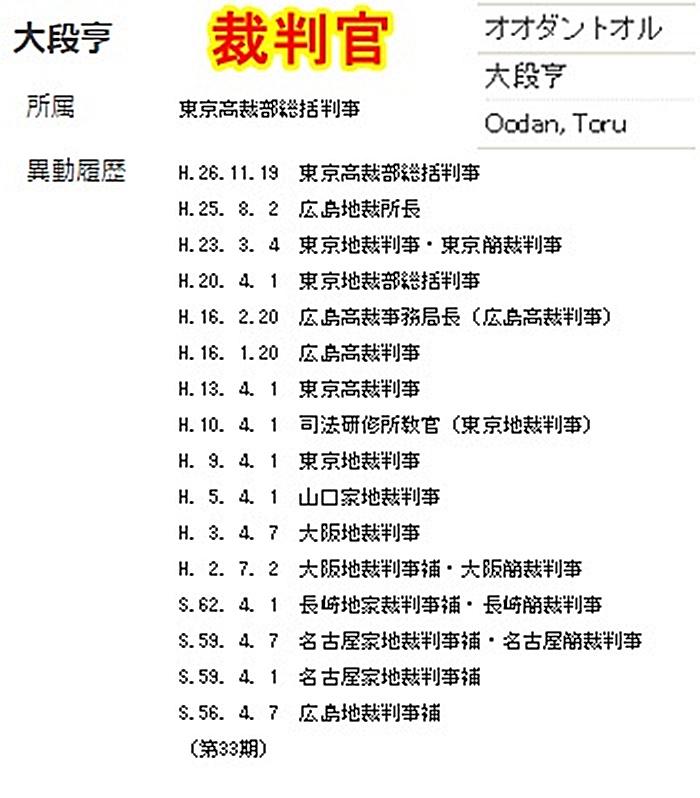 大段亨 裁判官 日弁連懲戒委員委員