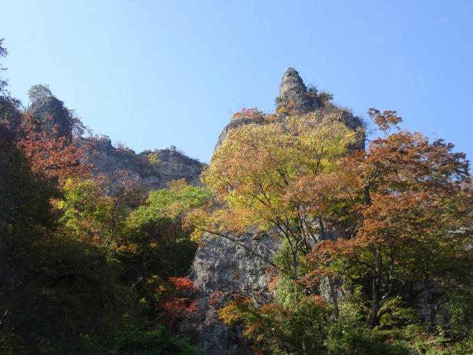 見上げる岩峰