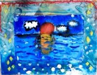 油絵とアクリル板額縁 キッズ・アトリエこども絵画造形教室