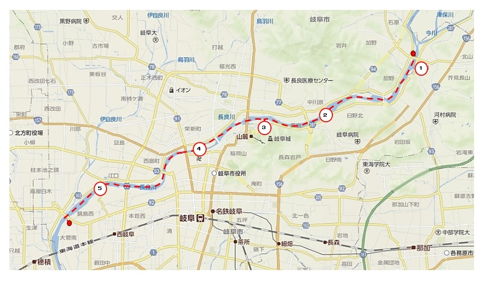 長良川、藍川橋―河渡橋map