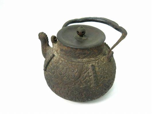 龍文堂造 岩肌饕餮紋 銅蓋 獣口鉄瓶