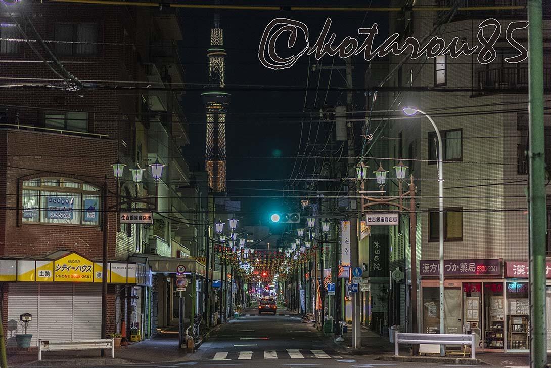 深夜の住吉銀座商店街 20190218