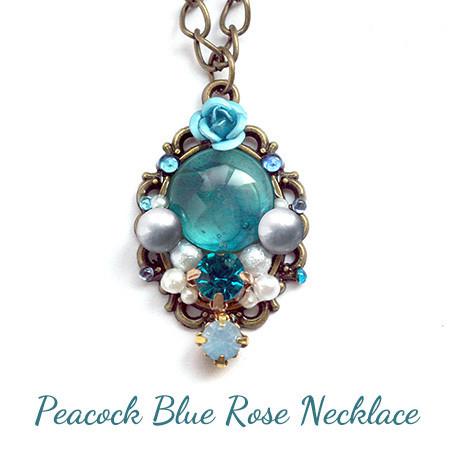 孔雀青の薔薇・ネックレス