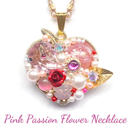 ピンク・パッションフワラー・ネックレス