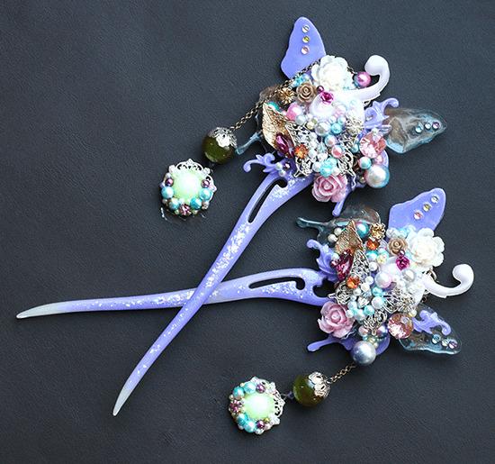 紫緋紋綾(しひもんりょう)・燐蝶簪