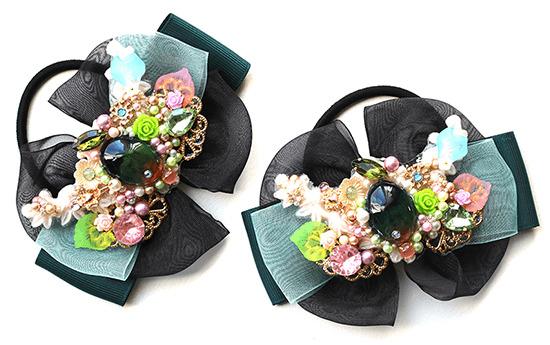 栗花と緑のヘアストリーク・リボンヘアゴム