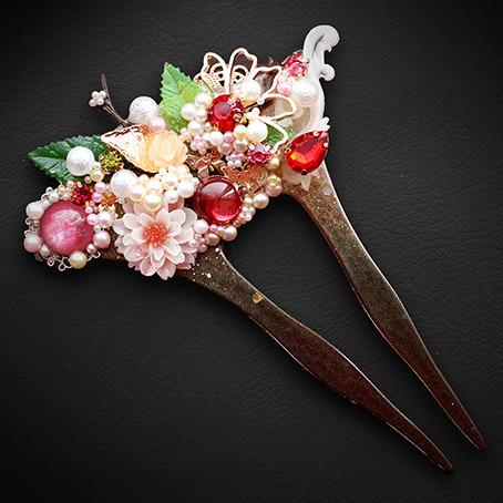 淡紅霞桜・花扇簪