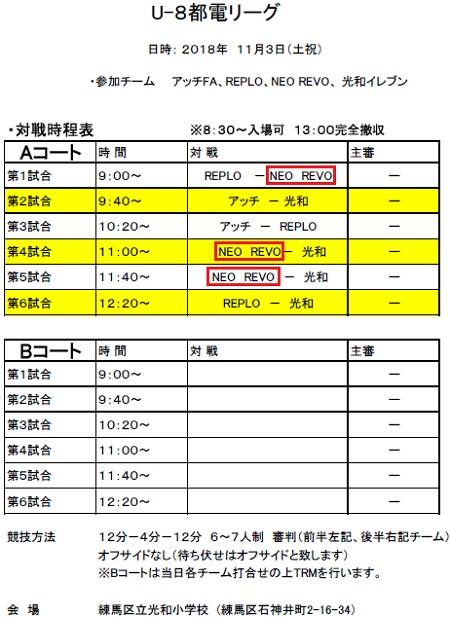 11.3(土)2年、都電リーグ時程