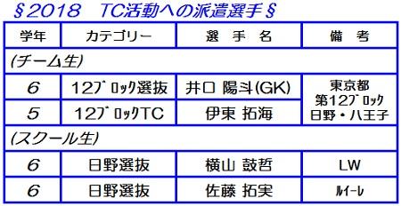 2018 TC活動への派遣選手