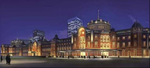 東京駅赤煉瓦パース夜