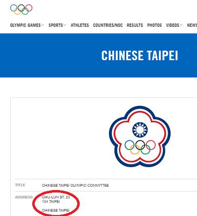 IOCチャイニーズタイペイ住所