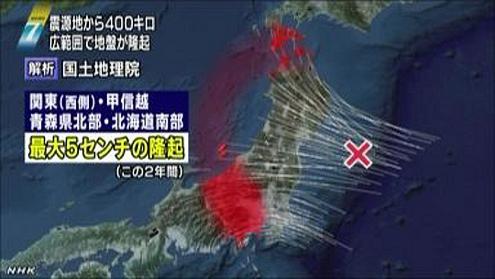 東日本大震災後にドーナツ状に隆起 修正