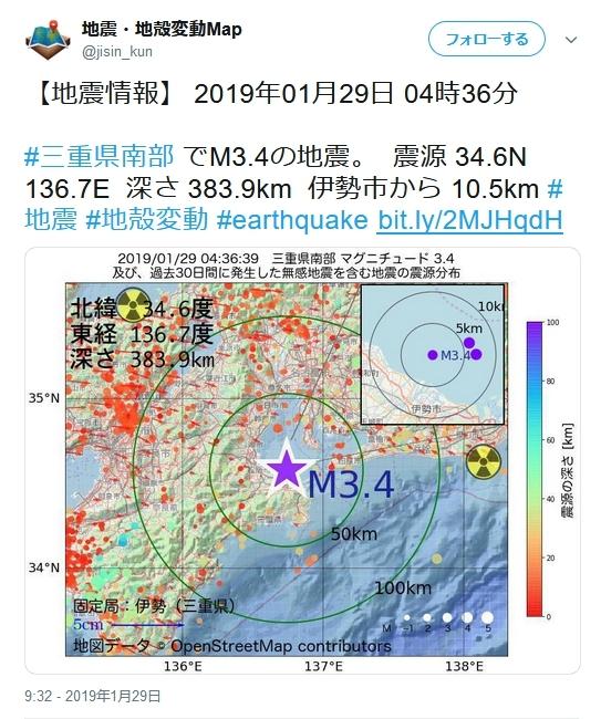 伊勢湾地震 1月29日