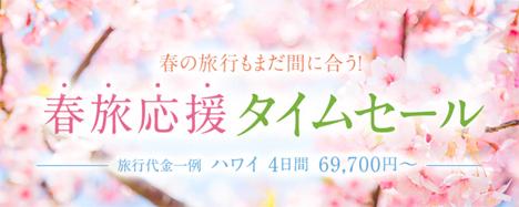 ANAは、海外ツアーでタイムセールを開催、ハワイ4日間が69,700円~!