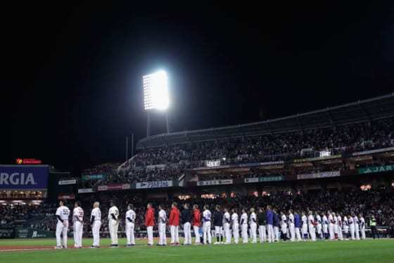 2018.11.13 侍ジャパン-MLB選抜第4戦 マツダスタジアム MLB国歌斉唱