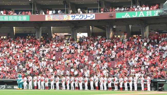 2018.7.20 西日本豪雨災害で犠牲になった方へ試合前に黙祷が捧げられた