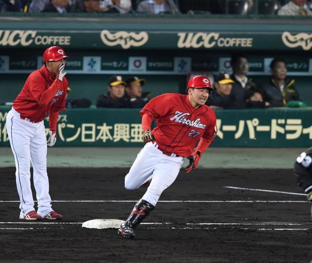 2018.4.10 阪神-広島 會澤が阪神先発の小野から先制打を放つ