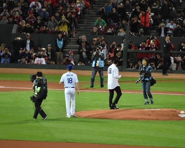 2018.11.13 侍ジャパン-MLB選抜第4戦 マツダスタジアム 黒田とマエケン エースの継承