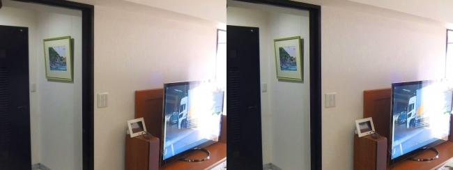 硝子の城 玄関 水彩画・テレビ(平行法)