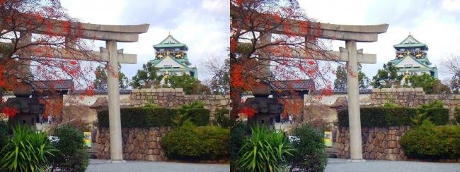 大阪城 豊國神社 鳥居(平行法)