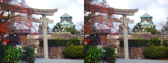 大阪城 豊國神社 鳥居(交差法)