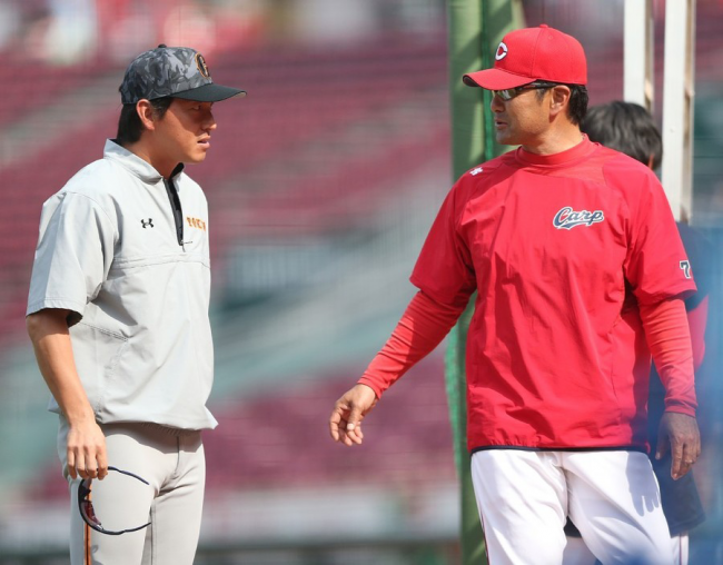 長野選手と緒方監督