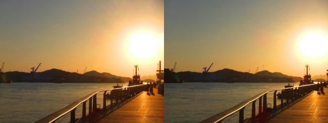 尾道水道の夕陽(平行法)