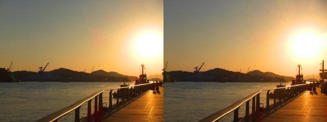 尾道水道の夕陽(交差法)