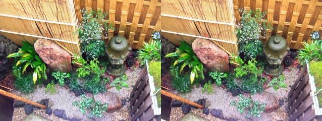 城崎温泉 旅館まつや202号室 雨の中庭の風景(交差法)