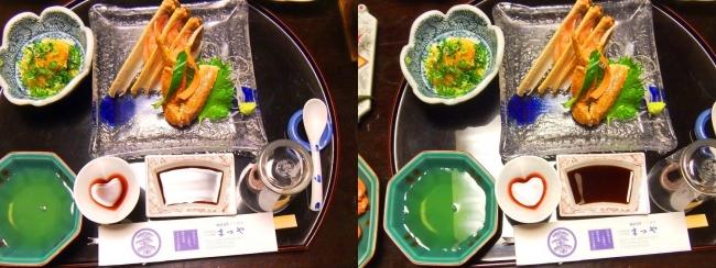 城崎温泉 旅館まつや かに会席フルコース 食前酒(苺ワイン)かに刺身 (交差法)