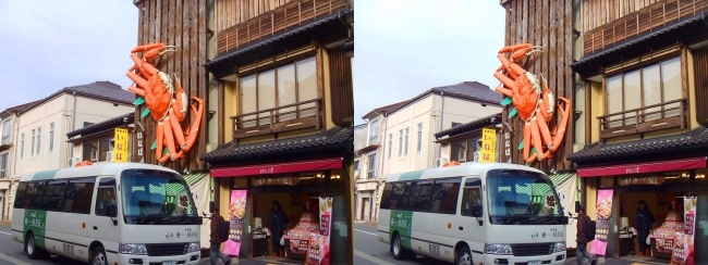 城崎温泉 駅通り3Dカニ看板①(平行法)