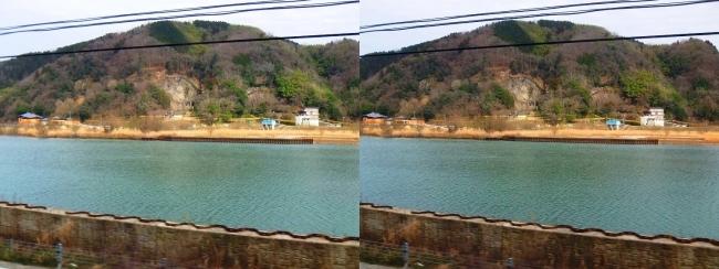 円山川・玄武洞公園(交差法)
