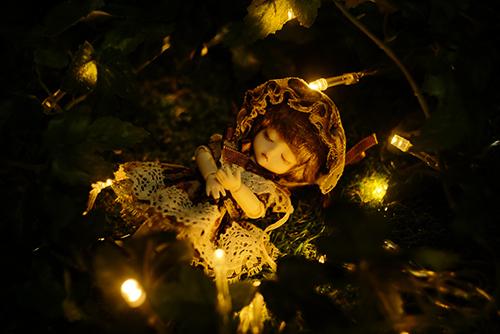 DOLL FACTORY・Baby Ariの小さな眠り目の子、Emma(エマ)。夜の不思議な森の中で、眠っている少女。