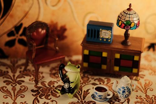 ツバキアキラが撮ったカエルのコポー。電話でお茶のお誘いをするコポタロウ。