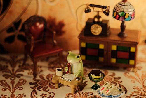 ツバキアキラが撮ったカエルのコポー。お茶のお誘いの手紙を書いているコポタロウ。