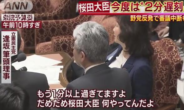 衆議院 予算委員会 桜田義孝 遅刻 審議拒否