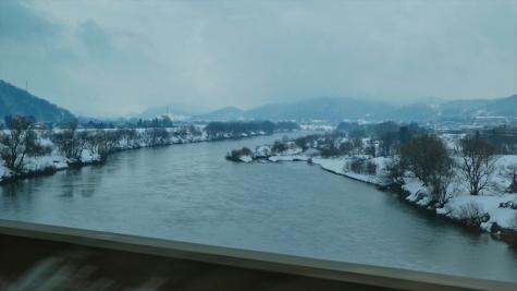 雪の千曲川【飯山付近】