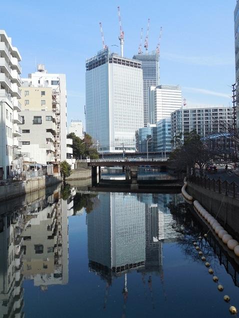 都橋の上から見た建設中の横浜市庁舎@横浜市中区