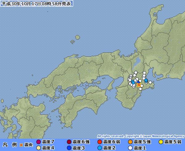 近畿地方で最大震度3の地震発生 M3.4 震源地は三重県中部 深さ約30km