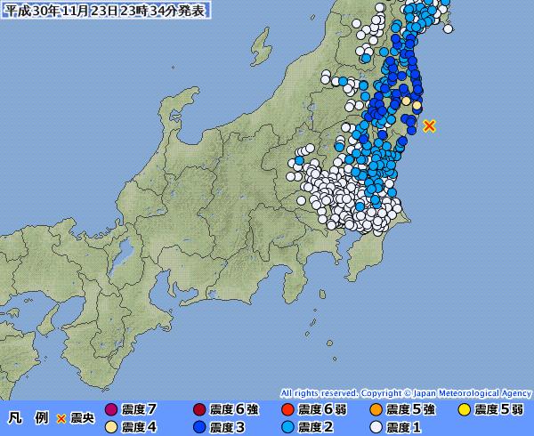 【満月】東北地方で最大震度4の地震発生 M5.0 震源地は福島県沖 深さ約50km