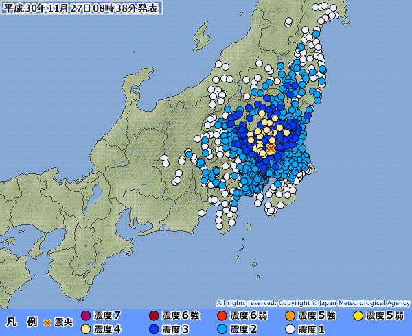 【東京震度3】関東地方の広範囲で震度3~4の揺れを観測 M5.0 震源地は茨城県南部 深さ約50km