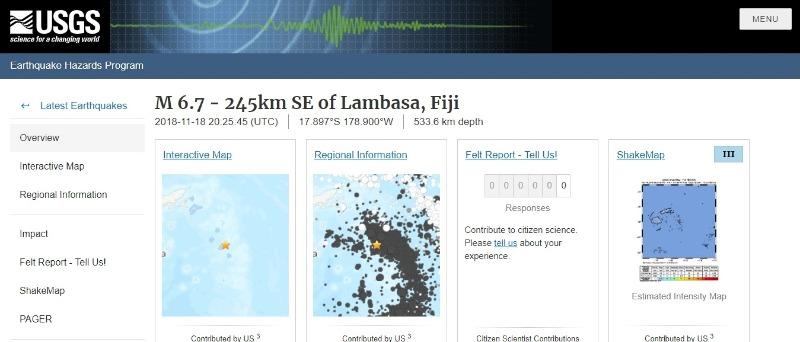 【深発地震】19日フィジーで「M6.7」の地震発生…震源の深さ533km