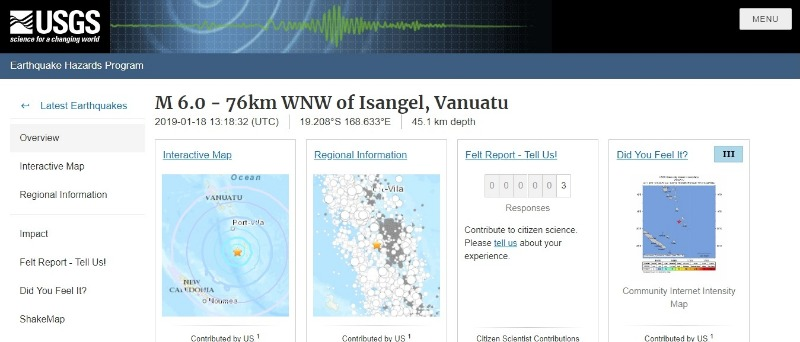 【太平洋】バヌアツで「M6.0」の地震発生
