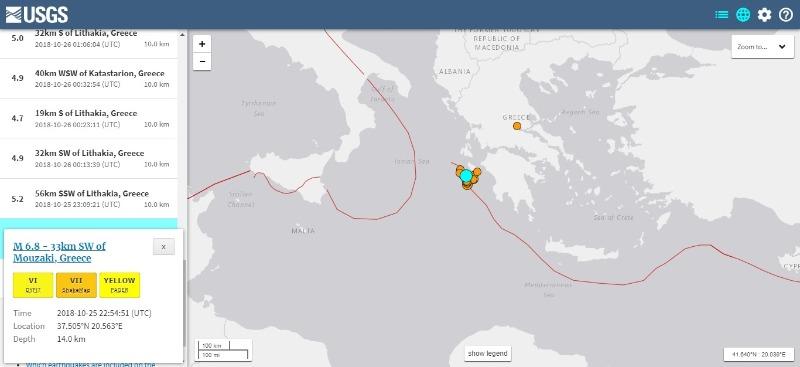 【地中海】日本時間26日、ギリシャで「M6.8」の地震発生…現在もM4~5クラスの余震が20回超続く