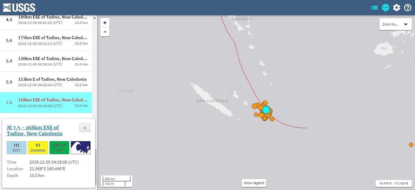 【地震活発】ニューカレドニアで発生した「M7.5」と「M6.6」の地震…その後も「M5.0クラス」の地震が30回超え継続中
