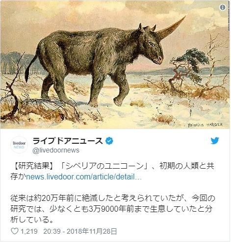 【一角獣】シベリアの「ユニコーン」がこちら…初期の人類と共存していた「サイ」だった
